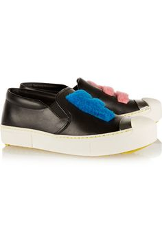 FENDI Faux shearling-trimmed leather slip-on sneakers