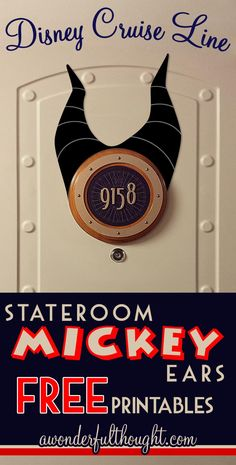 Decorate your stateroom door on Disney Cruise Line with this cute Maleficent Stateroom Mickey Ears!  Free to print and easy to make into a magnet for a door decoration.  Get more ears at awonderfulthought.com