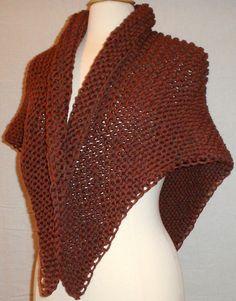 Hand Knit Triangle Shawl Wrap Scarf Foliage Heather by knitme1, $76.00