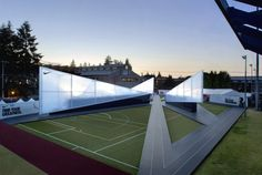 Nike Camp Victory / Skylab Architecture Pavilion Architecture, Architecture Images, Installation Architecture, Building Architecture, Nike Outfits, Olympic Trials, Temporary Structures, Us Olympics, Exhibition Space