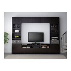 BESTÅ TV storage combination/glass doors, walnut effect light gray, Selsviken… Tv Storage, Storage Spaces, Extra Storage, Malm, Besta Tv Bank, Ikea Tv Unit, Frame Shelf, Ikea Family, Ikea Us
