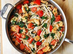 Shrimp, tomato, and spinach pasta in garlic butter sauce - just a few tweaks to make this GF!