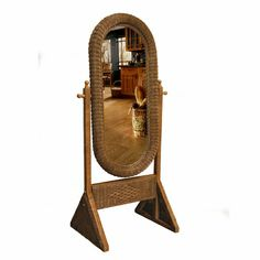 Cheval Wicker Floor Dressing Mirror ~ Rattan reed with two finish options gives it a feminine edge that can go from bedrooms and hallways to the sunroom or sitting area. 3