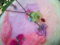 Necklace Flower Bouquet with Dragonfly Charm by GratefulBeads, $20.00