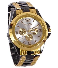 Rosra Golden Black Analog Watch Rs.225 Only