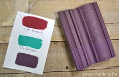 Chalk Paint® mix of Burgundy & Florence with clear wax, tinted wax, and dark wax. Follow Green Table Gifts on Facebook for Mixology Monday! #chalkpaint #colormix #purple