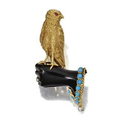 Turquoise, Ruby, Enamel and Diamond Falconry Clip-Brooch, Cartier, Paris, Circa 1940 | © 2013 Sotheby's