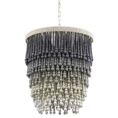 Shop the Palecek Solano Coastal Beach Grey Ombre Wood Beaded Pendant and other Pendants & Lanterns at Kathy Kuo Home Wood Bead Chandelier, Lantern Pendant, Chandeliers, Handmade Chandelier, Grey Ombre, Luminaire Design, Modern Bohemian, My New Room, Lampshades