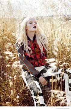 Field of Dreams - Maja Salamon Poses for ELLE Poland by Agata Pospieszynska  Styled by fashion editor Ina Lekiewicz.  Hair by Pawel Solis  Makeup by Nana Benjamin.
