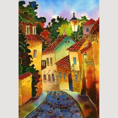 Cobblestone Road::Painting on Silk. Fine Art Prints, Canvas Prints, Silk Art, Fabric Painting, Painting Art, Road Painting, Naive Art, Art Plastique, Art And Architecture