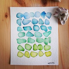 """Sea Glass original tiny watercolor painting by Katrina Pete #tinypainting #sea #seaglass #beachglass #watercolor #wallart #painting #etsy #etsyartist #etsyhunter #ocean #teal #ombre #illustration #katrinapete #handmade"" Photo taken by @thedailywatercolor on Instagram, pinned via the InstaPin iOS App! http://www.instapinapp.com (03/20/2015)"
