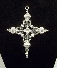 Cross Ornament - Car Charm - Suncatcher - Bright Silver and Clear Crystal. via Etsy.