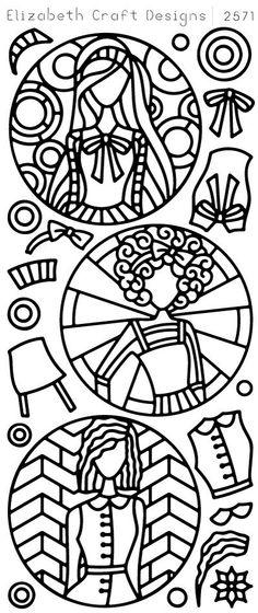 Elizabeth Craft Designs Peel-Off Sticker -2571B Jackie's Dolls in Circles
