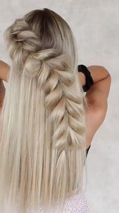 Hairdo For Long Hair, Easy Hairstyles For Long Hair, Girl Hairstyles, Braids For Medium Hair, Messy Braided Hairstyles, Fishtail Braid Hairstyles, Evening Hairstyles, Beach Hairstyles, Braided Hairstyles For Black Women