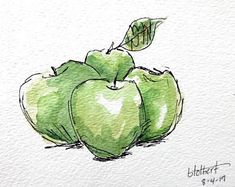 Green Apple Fruit Original Watercolor Art Painting Pen and Ink Watercolor Hand Painted Flower Original artwork of a bunch of juicy looking green apples rendered in pen, ink and watercolor. The colors show the plumpness of the apples a Watercolor Fruit, Watercolor Art Paintings, Fruit Painting, Pen And Watercolor, Watercolor Flowers, Apple Fruit, Illustration, Hand Painted, Original Artwork