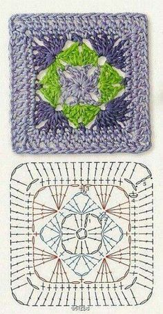 Transcendent Crochet a Solid Granny Square Ideas. Inconceivable Crochet a Solid Granny Square Ideas. Crochet Squares, Crochet Mandala Pattern, Crochet Motifs, Granny Square Crochet Pattern, Crochet Diagram, Crochet Chart, Crochet Granny, Crochet Blanket Patterns, Granny Squares