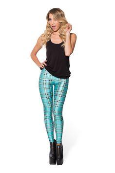 Tartan Turquoise Leggings › Black Milk Clothing