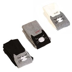 115fa9be591 EIAY Shop Kids Seamless Cotton Knit Tights Girls Pantyhose Stockings 3-6  Years Cute Cat