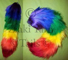 Rainbow Yarn Tail by serenitymoonwolf