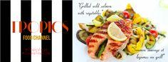 PAVÉ DE SAUMON ET LÉGUMES AU GRILL / GRILLED WILD SALMON WITH VEGETABLES. #TropicsFood #CuisineTropicale #Recette #Recipe #Foodie #Meals #HealthyFood Salmon, Sausage, Grilling, Meat, Vegetables, Food, Tropical Kitchen, Recipe, Sausages