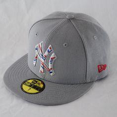 New Era 59Fifty NY Yankees Zag Stich Grau Flache Kappe Enganliegend 5950 Hut