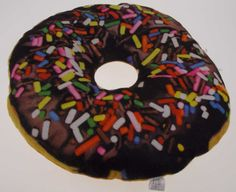 Donut Food Pillow Chocolate Icing Sprinkles Realistic Looking Sweet Dream Pillow