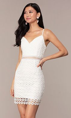 Short Semi-Formal White Lace Party Dress - Short Lace Graduation Dress with Adjustable Straps Source by - Short Graduation Dresses, Grad Dresses, Homecoming Dresses, Prom Gowns, Prom Dress, Ball Gowns, Lace Party Dresses, Sexy Dresses, Short Dresses