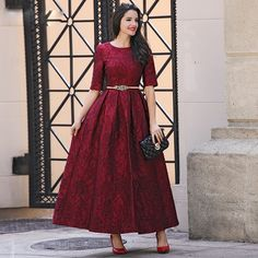 >> Click to Buy << HIGH QUALITY Newest Fashion 2017 Designer Maxi Dress Women's Half Sleeve Red Lace Long Dress Plus size S-4XL #Affiliate