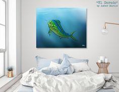 "Limited Edition Acrylic Glass Print • ""El Dorado"" Mahi Mahi fish art by Amber Marine • Curioos"