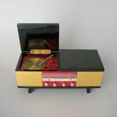 Vintage Music Box . Jewelry Trinket Secret Stash . Japanese Turntable Console . Lacquer .. $120.00, via Etsy.