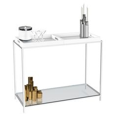 Organize in industrial-chic style with this versatile console table. Crafted of chrome-plated steel, this modern design showcases 2 reversible wood trays and...