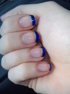 Blue funky french tips with zebra stripes & silver glitter detail nail art design (by jesv /redditlaqueristas