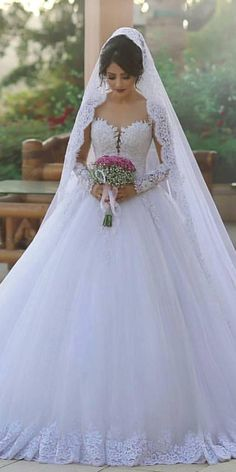 The Perfect Wedding Dress For The Bride Glamorous Tulle Sheer Scoop Neckline Ball Gown Wedding Dress With Lace Appliques & Beadings Sexy Wedding Dresses, Elegant Wedding Dress, Perfect Wedding Dress, Bridal Dresses, Wedding Gowns, Bridesmaid Dresses, Tulle Wedding, Lace Dresses, Indian Dresses