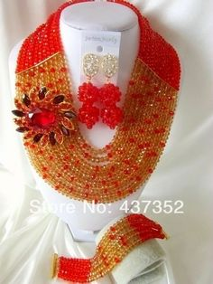 Fashion Red Gold Champagne African Wedding Beads Jewelry Set Nigerian Beads Crystal Necklaces Bracelet Earrings CPS-2026 $68.16