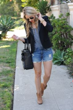 Jean shorts and a blazer