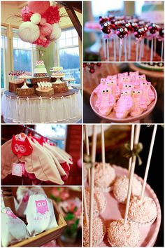 """Owl theme kids party...  love the centerpiece over the table, the table skirt and so cute with the """"tree"""" bases under the serving dishes. =)"""