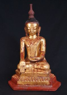 Old Burmese Buddha from Burma, Bhumisparsha Mudra, Shan (Tai Yai) style, made from lacquer, Antique Buddha statues