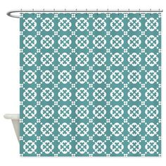 Cadet Blue and White Quatrefoil Dot Shower Curtain by BimbysCollections - CafePress Quatrefoil, Soap Dispenser, Dots, Blue And White, Shower, Decorating, Color, Design, Home Decor