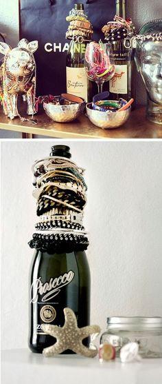 Wine Bottle Jewelry Organizer | 18 Easy Makeup Organization Hacks Bedroom | Easy Organization Ideas for Girls Bedrooms