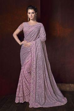 Sabyasachi Pink Shaded Net chickenkari sarre thread Embroidery Saree wedding sari party wear saree m Net Saree, Georgette Sarees, Sabyasachi Sarees, Silk Sarees, Lehenga, Half And Half, Net Blouses, Wedding Sari, Wedding Dresses