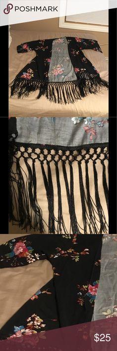 Black floral kimono with crochet trim Black floral kimono with black crochet trim Xhilaration Sweaters Shrugs & Ponchos