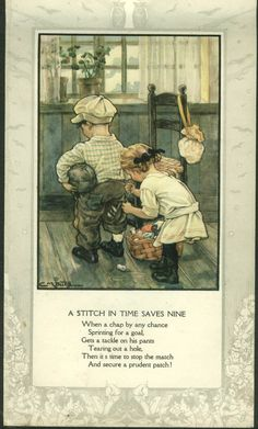 Clara M Burd Color Plate A Stitch in Time Nursery Rhyme CA 1930s   eBay