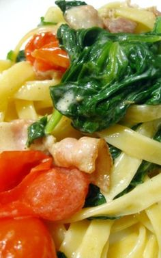 Spinach Bacon Fettucine Pasta - a quick, easy, and bright-tasting dinner with only a few ingredients. Hope you enjoy!