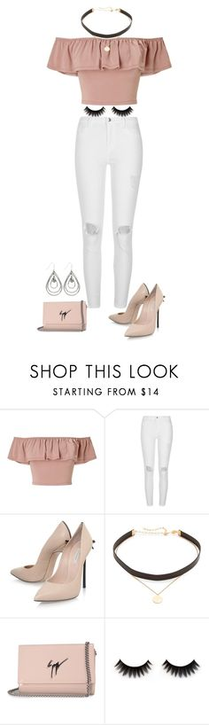 """casual glam look"" by fashion-life4me on Polyvore featuring Miss Selfridge, River Island, Casadei, Jennifer Zeuner, Giuseppe Zanotti, M&Co, chic, stylish, rose and fashionset"
