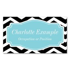 Black White Blue Chevron Personal Double-Sided Standard Business Cards (Pack Of 100). Make your own business card with this great design. All you need is to add your info to this template. Click the image to try it out!