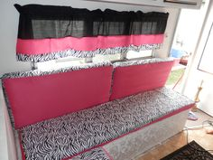 The girls renovated and remodeled camper/ travel trailer. Hot pink, zebra, black, white and silver! Gypsy Living, I Go To Work, Complete Bathrooms, Camper Makeover, Camper Renovation, Camper Interior, Remodeled Campers, Queen Size Bedding, Happy Campers
