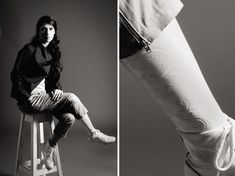 Prosthetic legs as fashion accessories.