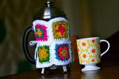 Granny square french press cozy pattern