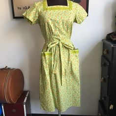 Vintage Swirl Brand Wrap Dress, Pockets! Green Floral, Square Neckline; New Old Stock NOS Small - Medium by VintagePussycatShop on Etsy https://www.etsy.com/listing/399088439/vintage-swirl-brand-wrap-dress-pockets