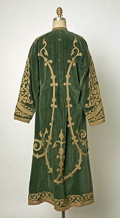 Afghan tunic, green velvet, metallic braid embroidery, first half of 20th c